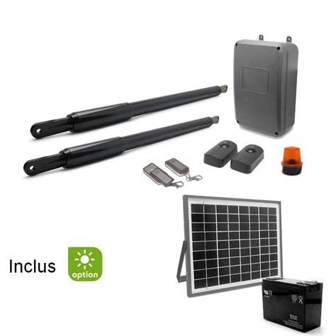 motorisation portail solaire kit motorisation de portail solaire 224 2 battants solairepratique