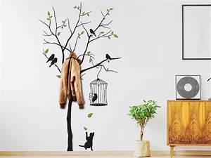Baum Als Garderobe : wandtattoo garderobe baum mit v geln ~ Buech-reservation.com Haus und Dekorationen