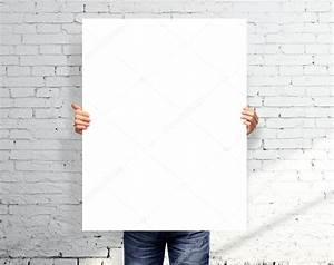 Man holding white poster — Stock Photo © peshkova #20042117