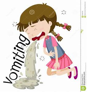 Girl Vomiting And Feeling Sick Stock Vector