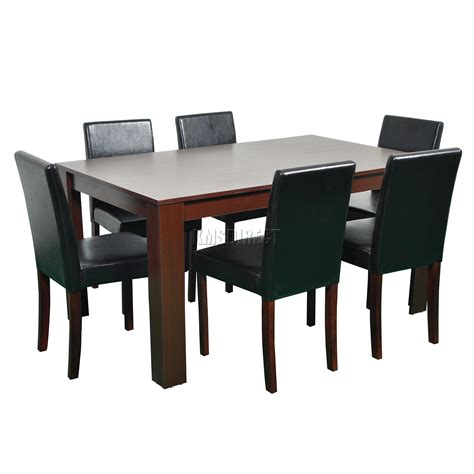 dining table and 6 chairs foxhunter wooden dining table and 6 pu faux leather chairs
