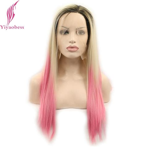 Yiyaobess Natural Dark Roots Blonde Pink Ombre Lace Front