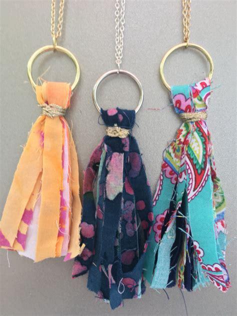 shabby fabric tassels fabric tassel necklaces shabby chic boho style