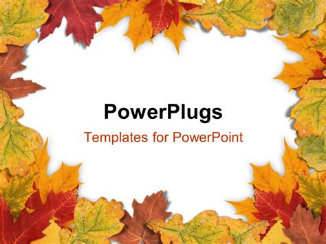 fall templates powerpoint template plain white background framed with autumn leaves 2395