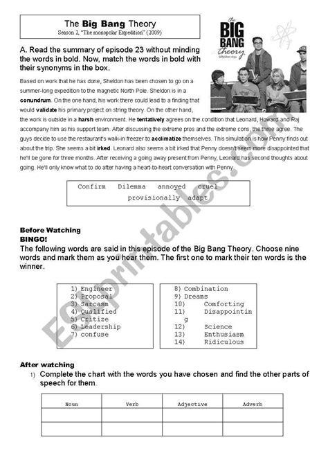 the big worksheet the big theory esl worksheet by allweare