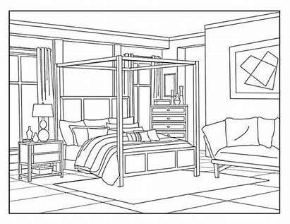 Coloring Bedroom Pages Adults Around Printable