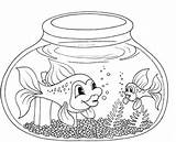 Aquarium Drawing Fish Coloring Pages Bowl Sheet Swimming Drawings Ocean Fresh Water Paintingvalley sketch template