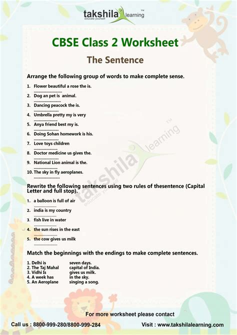 cbse class  english worksheet lessons  sentence