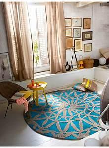 Tapis Salon Bleu Canard : tapis salon rond oriental lounge bleu et taupe de la collection esprit ~ Melissatoandfro.com Idées de Décoration