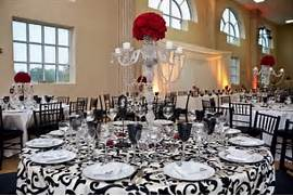 Table Decorations Black And White Theme Black White Red Damask Wedding Ideas