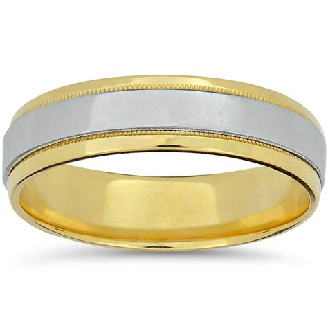 mens platinum  yellow gold  tone wedding band high