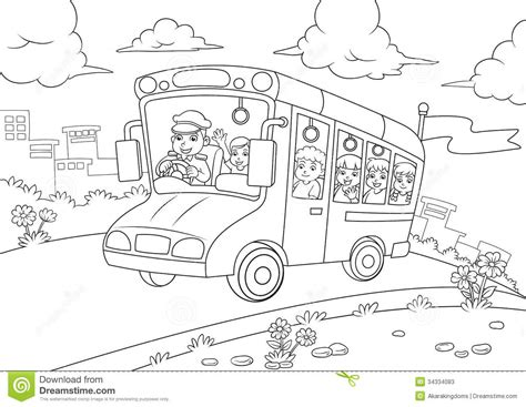 school bus outline  coloring book stock vector