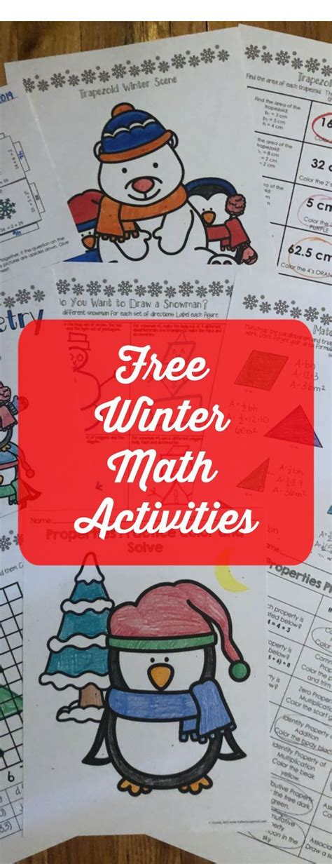 winter math activities  images winter math