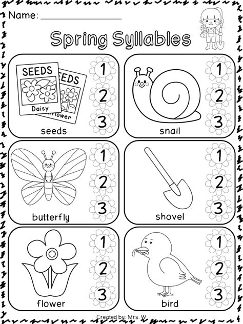 literacy and math syllable literacy and kindergarten