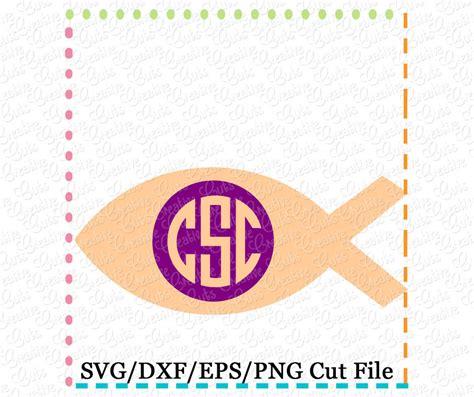 ichthys christian fish monogram cutting file svg dxf eps creative appliques