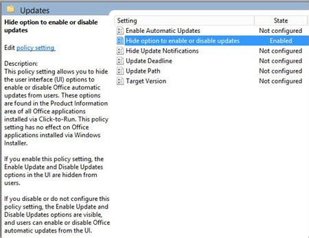 configure update settings  office  proplus
