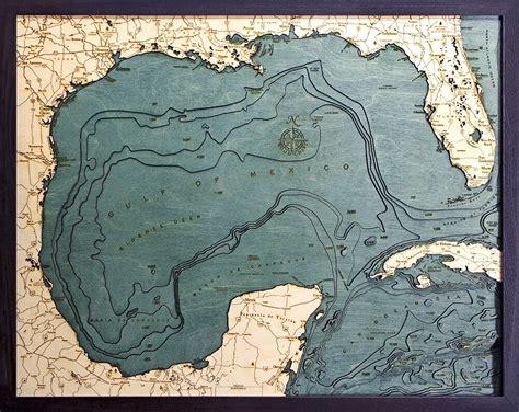 bathymetric map gulf  mexico scrimshaw gallery