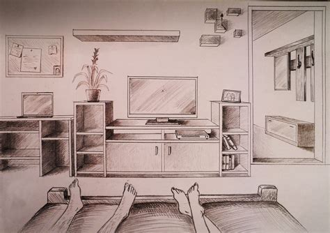 One Point Perspective Bedroom With Furniture