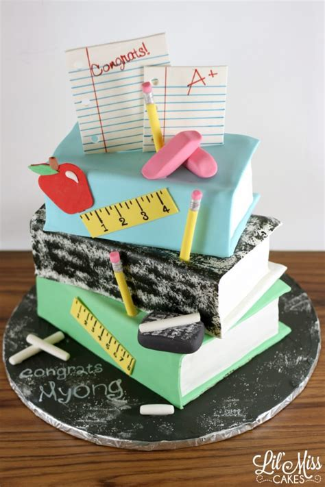 stacked book teachers retirement cake lil  cakes
