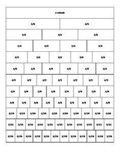 fraction strip equivalent fractions math printables