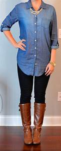 Outfit Posts outfit post chambray shirt black skinny jeans brown boots | My Style ...