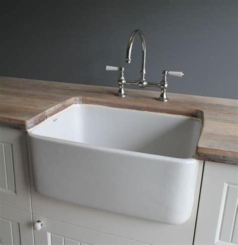 kitchen sink basin butler sink fireclay 250mm without overflow reno 2578
