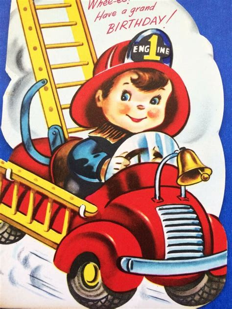 vintage boy driving fire truck birthday greeting card