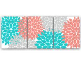 home decor wall art instant download grey coral teal
