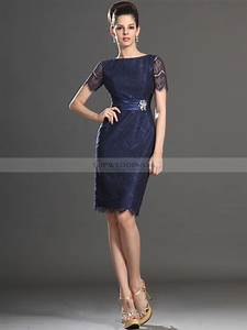 short sleeved lace sheath mother of the bride dress with sash With robes mere dela mariee