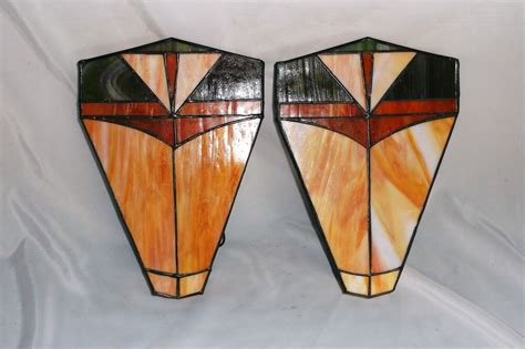 Pair Of Art Deco Stained Glass Slag Glass Wall Sconce