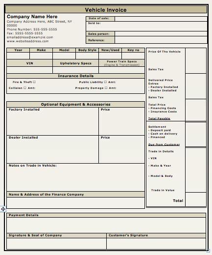 car sales invoice template   invoice