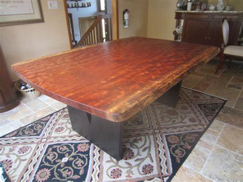 Handmade Live Edge Bubinga Slab Kitchen Table by