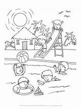 Coloring Pool Summer Swimming Sheets Fun Printable Drawing Allkidsnetwork Party Sheet Season Children Easy Books Summertime Source Spring Disimpan Dari sketch template