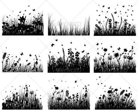 meadow silhouette set  angelp graphicriver