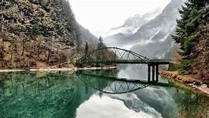 nature, , landscape, , water, , lake, , trees, , reflection, , bridge
