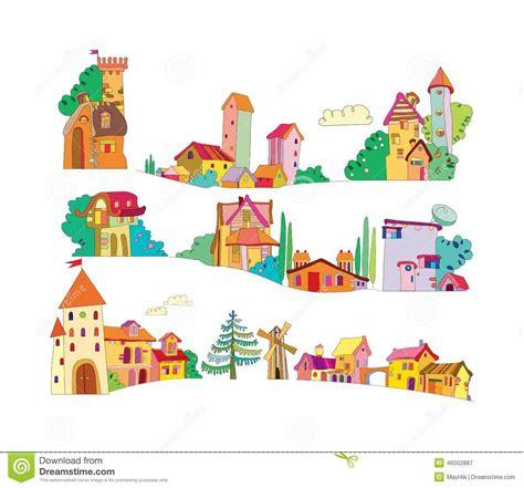 Casa Fumetto by Insieme Delle Colorate Fumetto Dipinte A Mano