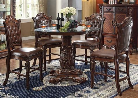 round formal dining table set vendome 5pc formal 48 quot round counter height dining table