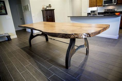 Live Edge Table with Custom Patina Base   Porter Barn Wood
