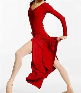 woman red long split dance dress long sleeve lyrical With robe danse contemporaine