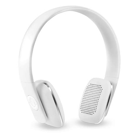 innovative technology rechargeable wireless bluetooth headphones with rubberized finish in white