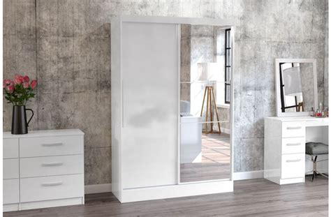 White Mirrored Wardrobe by Lynx White High Gloss Wardrobe With Mirrored Sliding Door