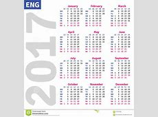 English calendar 2017 stock vector Image of business
