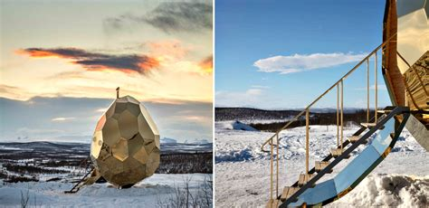 Solar Egg In Kiruna by Golden Egg Sauna Warms Up Residents Of Sweden S