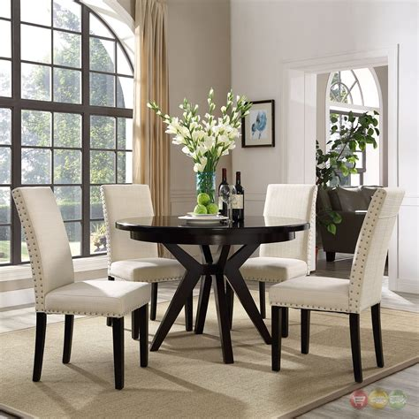 parcel modern upholstered dining side chair  nail head