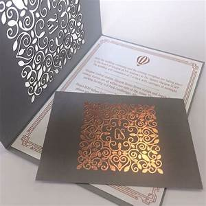 laser cut invites rose gold foil on grey wedding With wedding invitations grey and rose gold