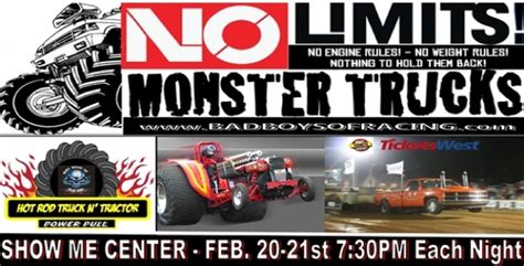 monster truck shows near me no limits monster trucks to appear at the show me center