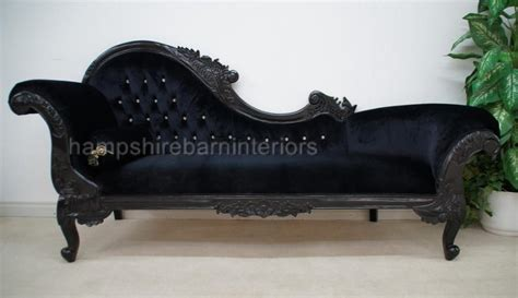 Large Ornate French Black Velvet Crystal Chaise Longue