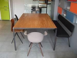 Table Bois Massif Metal : table en m tal et plateau bois massif les ateliers du 4 ~ Teatrodelosmanantiales.com Idées de Décoration