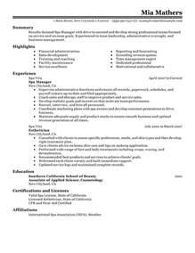 resume templates administrative coordinator job description manager resume exles salon spa fitness resume sles livecareer