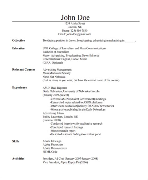 resume format for journalism 28 images broadcast